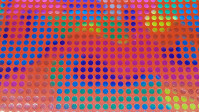 Foil Polka Dot Multicolor fabric - Bright and slightly elastic foil fabric with small 8mm multicolored polka dots on a red background.