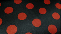 Satin Polka Dots fabric - Bright and fall satin fabric, with large polka dot designs, ideal for flamenco dresses, costumes and much more ... The fabric measures 150cm wide and its 100% polyester composition.