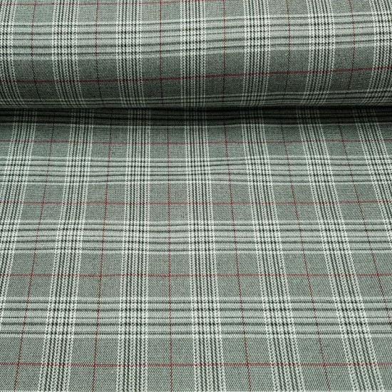 Gabardine Prince of Wales fabric - Gabardine stretch fabric with drawings of prince of wales pattern with colors in black, white and red stripes. The fabric measures 150cm and its composition 84% polyester - 28% rayon and 2% spandex