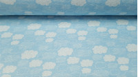 Canvas Clouds fabric - Canvas fabric with drawings of white clouds on a light blue background.