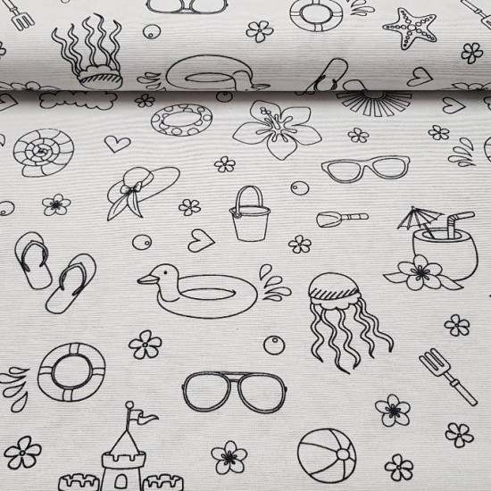 Canvas Coloring Beach fabric - Canvas fabric with black and white drawings for coloring with markers or special textile paint.
