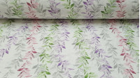 Canvas Willow Leaves fabric - Canvas fabric ideal for decorations and bag making, with drawings of willow branches in various colors: green, lilac, gray and garnet on a white background. The canvas fabric is sturdy and strong. You can make large crea