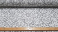 Canvas Mandalas Crochet fabric - Canvas fabric with mandala drawings created with crochet crafts on a gray background. The canvas fabric is ideal for decorations, upholstery, cushions, bags ... The fabric is 280cm wide and its composition is cotton