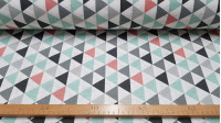 Canvas Triangles Gray Mint fabric - Canvas fabric with drawings of triangles dominated by mint green, gray, black and light red. The fabric is 280cm wide and its cotton and polyester composition