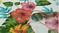 Canvas Aloha Hawaiian Flowers fabric - Canvas fabric ideal for home decoration, making bags, cushions, sofa covers ... This canvas fabric is strong and resistant with Hawaiian-style flower drawings with lots of color. Orchids, hibiscus and other plants ..