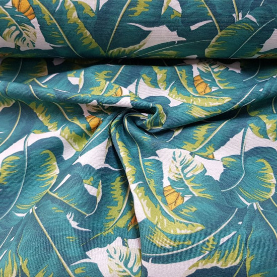 Canvas Banana Leaves fabric - Decorative canvas fabric with drawings of large banana leaves. The fabric is 280cm wide and its composition is cotton - polyester