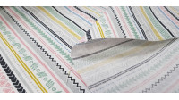Canvas Aztec Style Striped fabric - Decorative canvas fabric with Aztec style drawings of stripes and shapes in various colors on a white background. The fabric is 280cm wide and its composition is 70% cotton - 30% polyester.