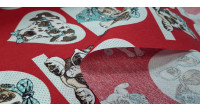 Canvas Dogs Glasses Red fabric - Decorative canvas fabric with drawings of dogs with glasses on a red background with shapes of hearts, circles... The fabric is 280cm wide and its composition is 70% cotton - 30% polyester.