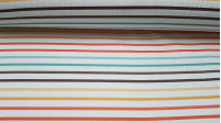 Half Panama Digital Stripes Colors fabric - Half Panama canvas fabric in digital print with colorful stripe drawings on white background. The fabric is 280cm wide and its composition 100% cotton.