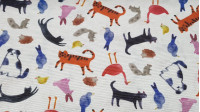 Canvas Animals fabric - Canvas fabric ideal for decoration and children's accessories, with drawings of animals such as dogs, cats, birds, chicks, rabbits ... painted as a watercolor effect, on a white background.