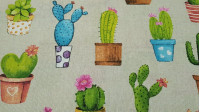 Canvas Cactus Pots fabric - Strong and resistant canvas fabric with different cactus drawings in varied pots on a beige background. For decoration or to make some cushions will be fabulous!