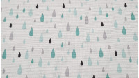 Canvas Drops Rain fabric - Beautiful patterned canvas fabric, with drawings of drops of different sizes in green and gray colors on a white background.