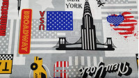 Canvas Love New York fabric - Canvas fabric ideal for decoration and accessories such as cushions, with themed drawings of the city of New York. Several very characteristic drawings of this great city of the United States appear, such as the Empire State