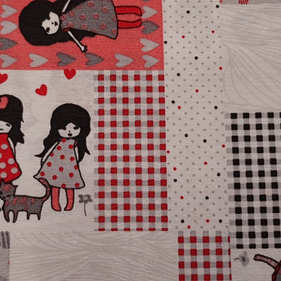 Canvas Dolls fabric - Canvas fabric for children, with drawings of dolls on a background of moles, squares with a predominance of colors black, gray, salmon and red. It is a resistant and strong fabric ideal for decorating cushions, bags, chi