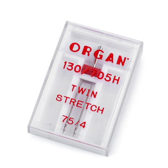 Twin Stretch Needle 75/4 Organ - Twin needle of the Japanese brand Organ, ideal for elastic fabrics such as jersey, lycra, sweatshirt... The separation between the two needles is 4mm