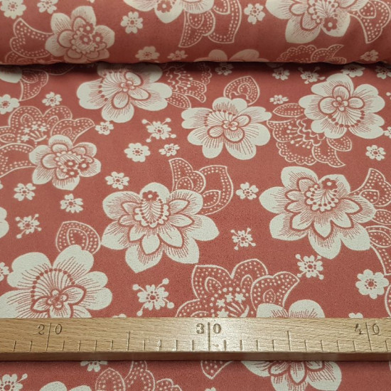 OUTLET Crepe Flowers Vintage Red fabric - Crepe fabric with white vintage flower patterns on a red-pink background. The fabric is 110cm wide. Fabric Outlet Cheap Sale