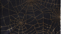 OUTLET Cobwebs Gold Black fabric - Shiny fabric ideal for Halloween costume with gold spider web patterns on a black background. The fabric is 150cm wide and its composition is 100% polyester.