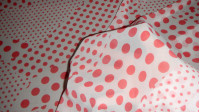 Chiffon Printed Red Polka Dots fabric - Beautiful chiffon fabric printed with red polka dots interspersed in different sizes. It is a fabric with enough fall ideal for clothing.