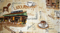 Tablecloth Coffee shop France Toasts fabric - Tablecloth fabric with drawings of coffee shops, coffee cups, toasts, stools and other drawings