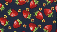 Cotton Strawberries Blue fabric - Fine cotton fabric with strawberry drawings on a navy blue background.