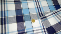 Crepe Tablecloth fabric - Crepe fabric with large squares print ideal for tablecloths in restaurants and other clothing for the home.