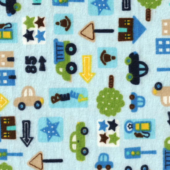 Flannel Cars City Blue Background fabric - Children's cotton flannel fabric with drawings of cars, trucks and signs on light blue background.