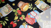Tablecloth Black Jars fabric - Tablecloth fabric with drawings of jam jars and fruits on black background