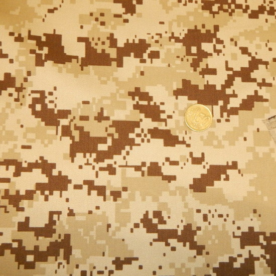 Twill Desert Camouflage fabric - Strong and resistant twill fabric with brown camouflage pattern in desert-themed military themes. The fabric is 150cm wide and its composition 80% polyester - 20% cotton.