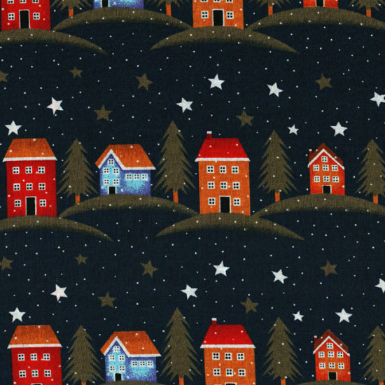 Cotton Christmas Dark Blue Houses fabric - Patchwork fabric 100% Cotton Drawings of small houses and Christmas stars on a dark blue background.
