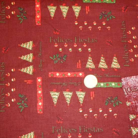 Cotton Christmas Lettering Happy Holidays Garnet fabric - Patchwork fabric 100% Christmas cotton. Drawings of fir trees, candles, stars and lettering of happy holidays and merry christmas on garnet background.