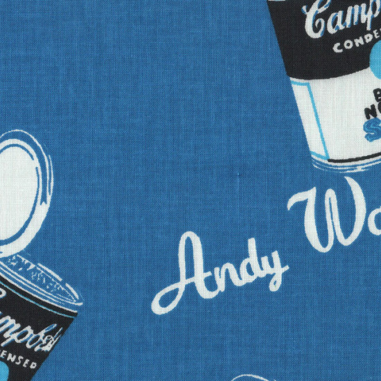 Cotton Campbells fabric - Printed cotton fabric with drawings of soup cans of the famous Campbells brand on a blue background. With this fabric it will give a vintage touch to your creations.