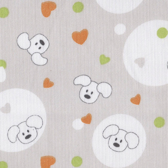 Pique Puppies Hearts Green Orange fabric - Piqué de Canutillo fabric printed with children's drawings of experts and green and orange hearts on a gray background.