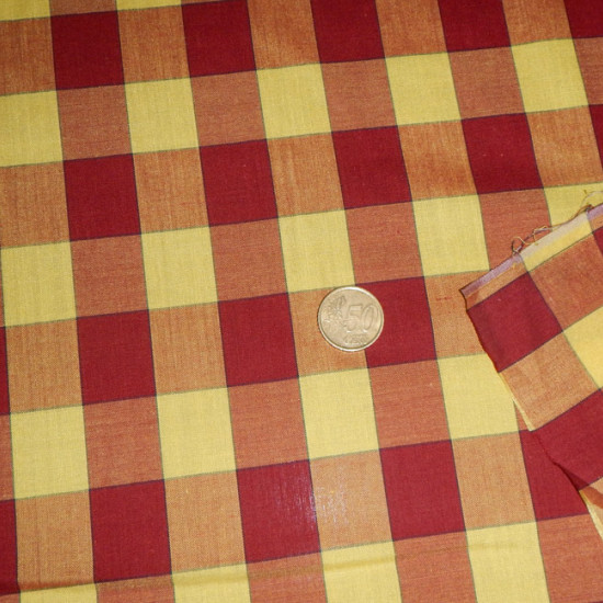 OUTLET Poplin Check Maroon Yellow fabric - Fine poplin fabric printed with large maroon and yellow squares. The fabric is 140cm wide Cheap Outlet Cloth Clearance